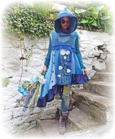 Whimsical Dress Lagenlook Asymmetrical Blue Sweater Upcycled Hoodie Cashmere Wild Flower Sleeveless Tunic Recycled Eco Friendly Medium Large