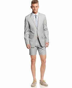Bar III Carnaby Collection Light Grey Mini-Cord Suit Separates Slim Fit
