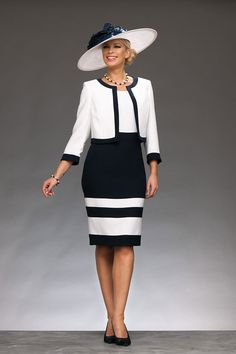 Knee length sheath dress with high neck and capped sleeves with short jacket Product Code: Cindy Colour: Navy/Ivory