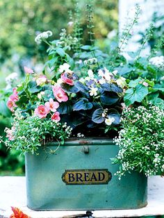 You can create a lush, beautiful garden in any container that holds soil, but lets excess water drain. Add country or cottage charm to your landscape with planters made from antique bread boxes.