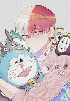 Todoroki Shouto, cute, stuffed animals, plush toys, Doraemon, My Neighbor Totoro, Studio Ghibli, Spirited Away, Minion, Despicable Me, Snorlax, Pokémon, crossover; My Hero Academia