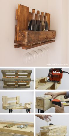 How to make a bottle rack with recycled pallets How to make a bottle rack with recycled pa Recycled Pallets, Wooden Pallets, Rustic Wine Racks, Pallet Wine, Wooden Pallet Projects, Easy Home Decor, Pallet Furniture, Woodworking Projects, Cellar Ideas