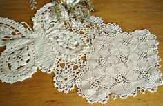 3 Crocheted Doily Ecru Crochet Doily Butterfly Vintage Doilies Doilies  D15 by TreasureCoveAlly on Etsy