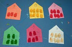 gummy bears or teddy grahams math center