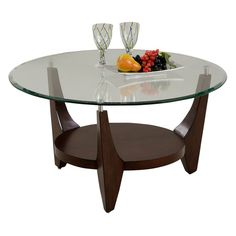 Have to have it. Progressive Furniture Round Cocktail Table with Glass Top - Dark Birch $220.00