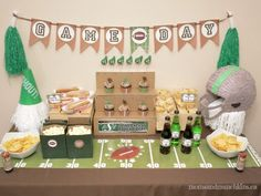 Football Party Ideas - make banner out of paper bags - like the banner and the table cloth/covering Football Party Foods, Football Themes, Football Parties, Football Food, Super Bowl Party, Kids Party Themes, Party Games, Party Ideas, Family Fun Night
