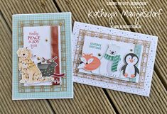 Stampin' Up! Sweet Stockings and Penguin Playmates Designer Series Paper, Christmas Card created by Kathryn Mangelsdorf Penguin, Stampin Up, Christmas Cards, Stockings, Joy, Seasons, Create, Paper, Mini