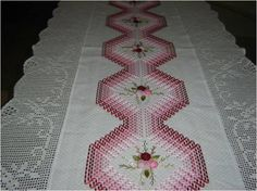 A beautiful table runner with huck weaving
