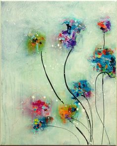 Flower Painting Original Abstract Painting by MilaSchoeneberg