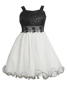 Kids' | Dresses | Tweens 7-16 Black & White Sequin Tulle Dress | Lord and Taylor
