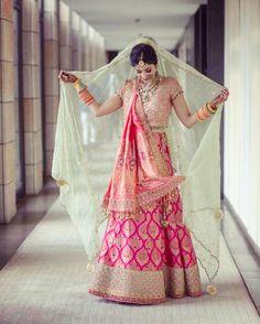 Looking for Bride in pink lehenga with mint dupatta? Browse of latest bridal photos, lehenga & jewelry designs, decor ideas, etc. on WedMeGood Gallery. Wedding Lehnga, Muslim Wedding Dresses, Bridal Dresses, Wedding Bride, Gothic Wedding, Wedding Wear, Wedding Couples, Indian Bridal Outfits, Indian Bridal Lehenga