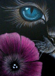 Cat Art... =^. ^=... ❤...Cat Behind the Petunia Flower EBSQ Show AWARD WINNER by Artist Cyra R Cancel...
