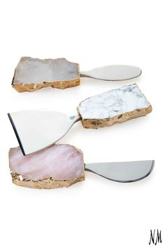 The quartz and agate handles with 24-kt. gold accent make this Rab Labs Kiva 3-Piece Cheese Set simply too gorgeous to put in the drawer, so take it as an excuse to indulge in more Camembert.