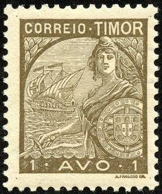 """Timor 1935 Scott 203 olive brown """"Portugal"""" and Vasco da Gama's Flagship """"San Gabriel"""" Vintage Stamps, Vintage Ads, Vintage World Maps, Dutch East Indies, Timor Leste, Old Maps, East Africa, Stamp Collecting, Portuguese"""