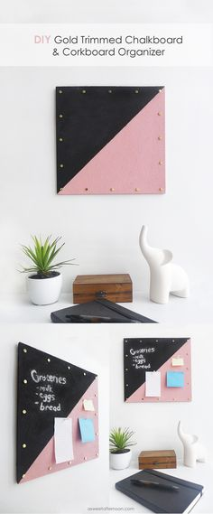 DIY Gold Trimmed Chalkboard & Cork board Organizer - Great to organize a dorm or bed room!