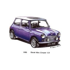 Violet 1990 Rover Mini Cooper Car $3 | Sketches - Indoor / Outdoor