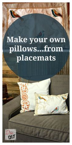 Easy No-Sew Throw Pillows from placemats! Amazing!