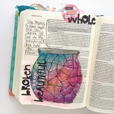 watercolor bible journaling | broken made beautiful - Romans 5 | Bekah Blankenship