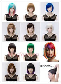 New Fashion Short Wig Anime Cosplay Party Bob Style Straight Cosplay Full Wig #Unbranded #HairFallHalfWig