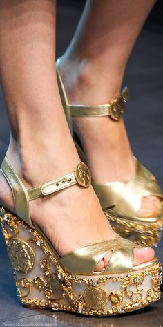 The Gown Boutique - Dolce & Gabbana gold grecian style platform shoes | S/S 2014 RTW