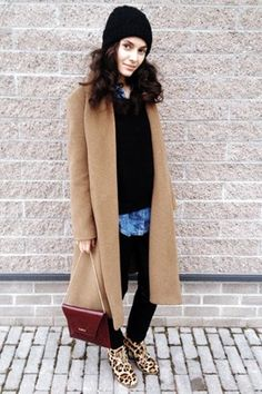 """British Vogue: Anna Karboinova: """"I'm wearing a Gerard Darel coat with Max&Moi leggings, an Acne sweater and The Kooples denim shirt. My bag is from Max Mara and the shoes are from Estonia. Street Style Blog, Street Chic, Street Style Women, Street Wear, Baggy Tops, 2014 Trends, Cool Style, My Style, I Love Fashion"""
