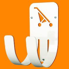BuggUp® - Il sistema per appendere il tuo passeggino. E' un gancio dal design nuovo e divertente, pronto a risolvere la mancanza di spazio. E' adatto alla maggior parte dei passeggini, realizzato in acciaio di alta qualità in colore bianco, resistente e piacevole da vedere.  Disponibile in due versioni: Grande per appendere i passeggini e le carrozzine più grandi, Piccola per i passeggini più piccoli, come quelli a ombrello.  Portata massima di 25Kg.