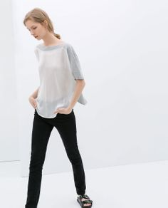 Image 1 of T-SHIRT WITH COMBINED FRONT from Zara
