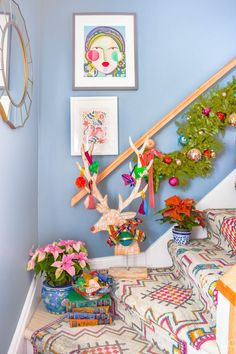 Come tour a Colourful & Eclectic Christmas Home Tour, full of rich patterns, styles and whimsical touches. Christmas And New Year, Christmas Home, Christmas Ideas, Magical Christmas, Vintage Christmas, Holiday Ideas, Xmas, Christmas Tablescapes, Christmas Decorations