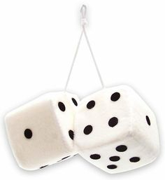 "Amazon.com: Cool & Custom {3"" Inch w/ String} Single Pair of ""Fuzzy, Furry & Fluffy Plush Dice"" Rear View Mirror Hanging Ornament Decoration w/ Classic Design [Scion White and Black Color]: Automotive"