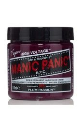 Manic Panic Deep Purple Dream Hair Dye – Classic High Voltage - Semi-Permanent Hair Color - Blackberry, Purple Shade - For Dark & Light Hair – Vegan, PPD & Ammonia-Free - For Coloring Hair Cabello Manic Panic, Cheveux Manic Panic, Manic Panic Hair Color, Manic Panic Plum Passion, Deep Purple, Dye Eyebrows, Color Safe Shampoo, Color Fantasia, Colorful Hair