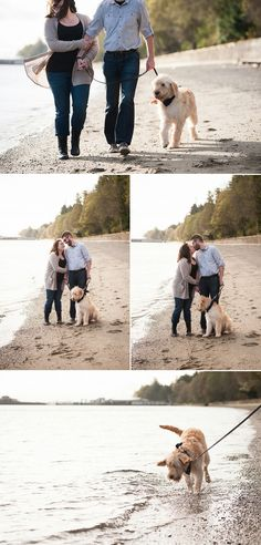Owen Beach engagement photos | Puppy dog splashes in water | engagement pictures with dog | Tacoma wedding photography | Autumn L. Rudolph Photography