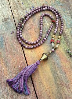 A grade lepidolite gemstone mala necklace by look4treasures