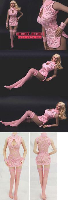 1//6 woman white Lingerie Corset Gartering Stockings for Phicen Hot Toys ❶USA❶