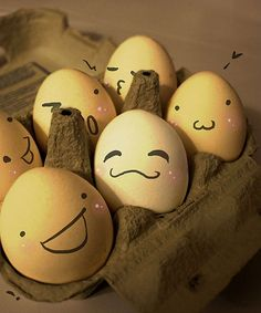 Whimsy. Do this to carton of eggs for self, or when house guests pull out eggs…