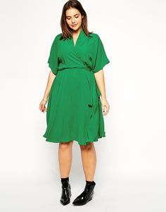 Image 4 of ASOS CURVE Obi Wrap Dress In Longer Length