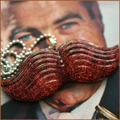 Mister Mustache - The Original Resin #Moustache Necklace, by stoopidgerl on Etsy, how nice is this glitter! #stache #mustache