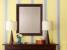 """Lowe's provides all the tips and tools you need to create an attractive color scheme for any indoor space with painted wall stripes. <br> <a href=""""http://adsremote.scrippsnetworks.com/event.ng/Type=click&FlightID=&AdID=&TargetID=&Values=2109337&Redirect=http:%2f%2fwww.lowes.com/creative-ideas"""" target=""""_blank"""" rel=""""nofollow"""">Find more great ideas like this at Lowes.com</a>"""