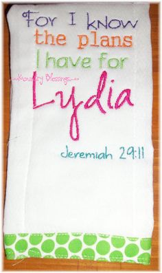 Boutique PERSONALIZED Scripture Burp Cloth  by KountryBlessings, $7.00