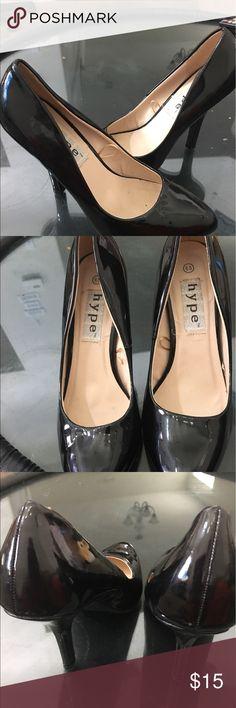 High heels Black patten leather high heels size 8 Hype Shoes Heels
