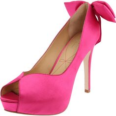 Hot Pink Pour La Victoire Cristella2 open toe pumps. Love in black too!