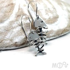 Fish Earrings with Twisted Wire Sterling Silver 925 by MCDecarie, $75.00