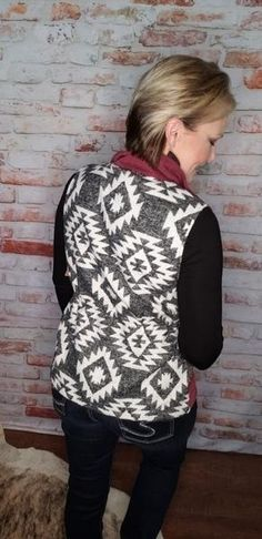 🌟Microsuede Burgundy Front 🌟Aztec Back 🌟True to Size Cherokee, Aztec, Vests, Label, Burgundy, Boutique, Sweaters, Products, Fashion