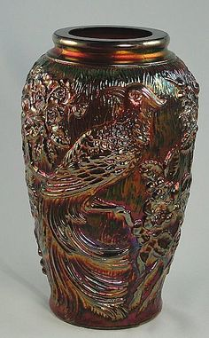 Fenton GlassTropical Bird Vase Marigold Aubergine Carnival from Fortune Gallery of Vintage Collectibles