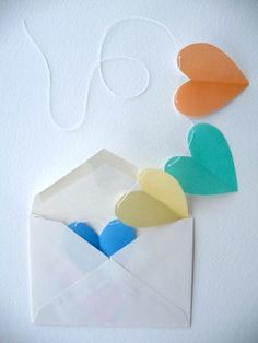 """Get origami paper from J-town to make this.  Great idea to send as a valentine greeting for friends, or """"just thinking"""" of you."""