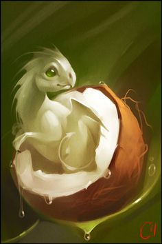 Fruit Dragons By Russian Artist Alexandra Khitrova - Alexandra Khitrova is a Russian illustrator and concept artist who creates fantasy-like digital paintings. Mythical Creatures Art, Mythological Creatures, Magical Creatures, Digital Art Fantasy, Fantasy Kunst, Fantasy Artwork, Dragon Artwork, Dragon Pictures, Cute Dragons