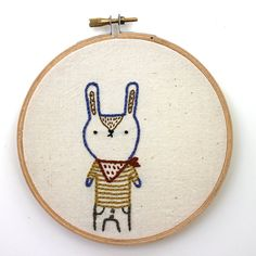 Charlie the cowboy bunny  Hand embroidered wall art  by sleepyking, $35.00