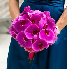 Hot pink phalaenopsis wedding bouquet