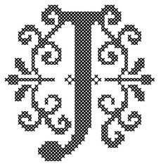 Counted Cross Stitch Pattern Formal Letters for Initials  Letter J - Instant Download Epattern PDF File