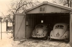 barn find with his and hers split window VW Bugs