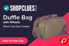 Shopclues #DealofTheDay is offering Top Gear Combat 20inch #DuffleBag with Wheels Only in Rs.299. Dimension: 11x20x10inch (LxWxH), Material: 600*300, Polyester Metty Handle/Strap: Padded shoulder support Closure: Zip and Buckle closure Compartments: Single compartments Spacious and light to carry while you travel. Shopclues Coupon Code – SCEDM24J1  http://www.paisebachaoindia.com/duffle-bag-with-wheels-20inch-top-gear-combat-just-rs-299-shopclues/
